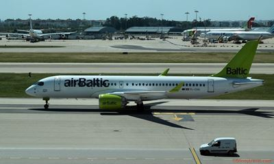 Airbus A220-300 in Lisbon by airBaltic
