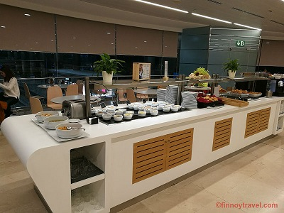Catering table at Puerta del Sol Lounge at Madrid Airport