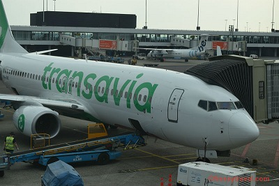 Transavia B737-800 plane at the gate in Amsterdam Airport