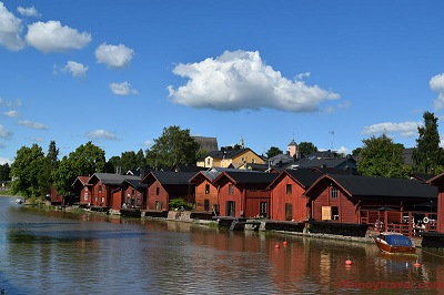 Porvoo River with red wooden houses.