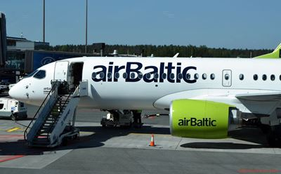 AirBaltic Airbus A220 at Riga Airport